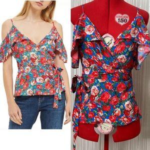Topshop Women's 2 cold shoulder floral wrap top